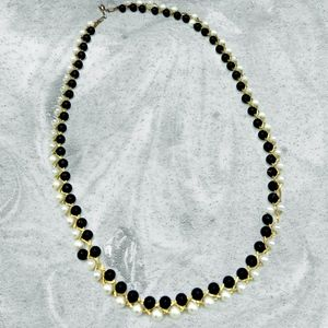 Black and White interlaced Gold Necklace